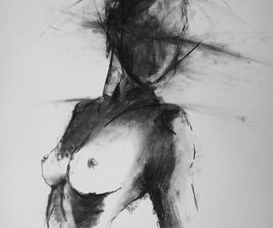 art, black and white, and dark image