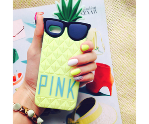 iphone, pineapple, and pink image