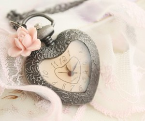 clock, vintage, and heart image