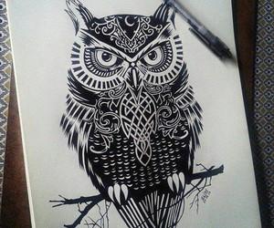 black and white, coruja, and desenho image