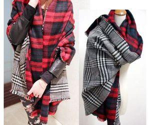 black, plaid, and scarf image
