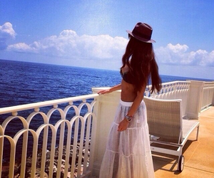 hat, beach, and skirt image