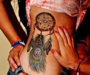 dreamcatcher, tattoo, and peacock image