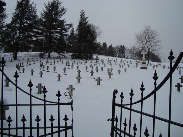 snow, cemetery, and graveyard image