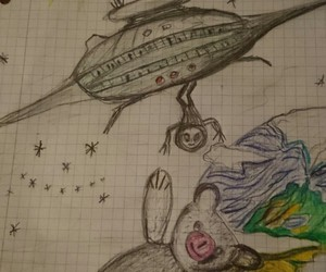 alien, draw, and teddy image