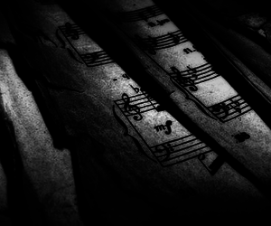 black and white, sheet music, and Darkness image