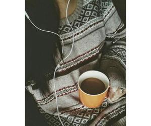 girl, music, and coffee image