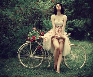 girl, bike, and flowers image