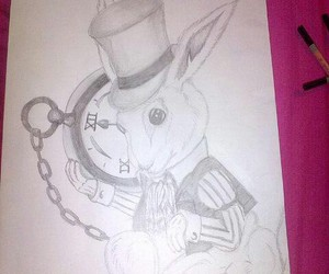 alice in wonderland, drawing, and pencil image