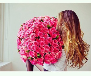 pink, girl, and flowers image