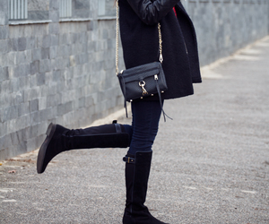 bag, boots, and coat image