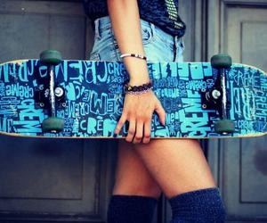 girl, blue, and skateboard image