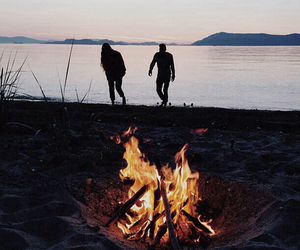 fire, beach, and couple image