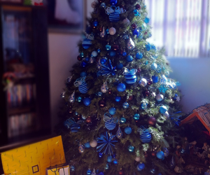 blue, christmastree, and fenomenal image