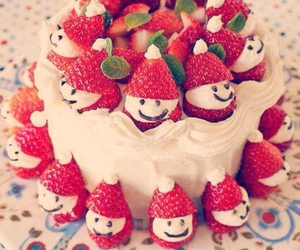 cake, strawberry, and sweet image