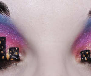 eyes, city, and makeup image