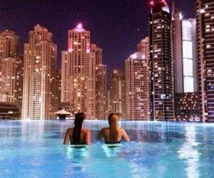 pool, city, and night image