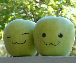 apple, green, and smile image