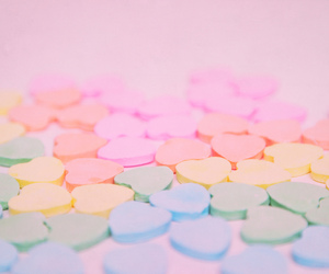 candy, hearts, and pastel image