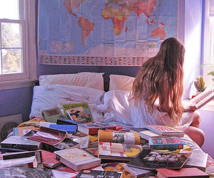 book, girl, and travel image