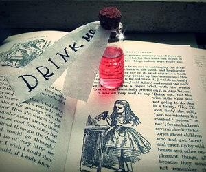 book, drink me, and alice in wonderland image