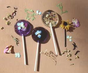 candy, flowers, and lollipop image