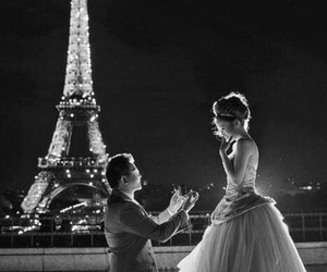 couple, marriage proposal, and paris image