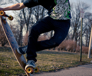 skate, boy, and longboard image