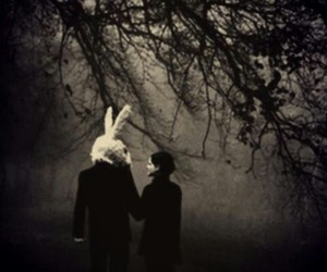 love, black, and bunny image