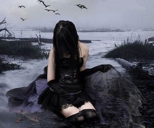beautiful, goth, and sad image