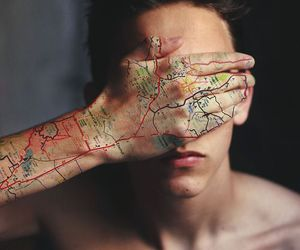 boy, map, and tattoo image