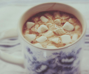 hot ​chocolate, marshmallow, and winter image