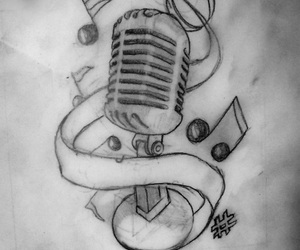 music, microphone, and tattoo image
