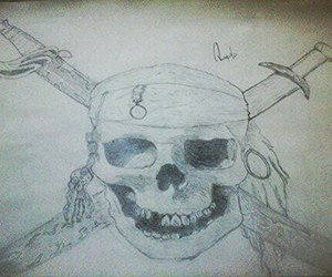 black and white, Caribbean, and pirate image