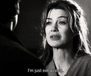 black and white, exhausted, and greys anatomy image