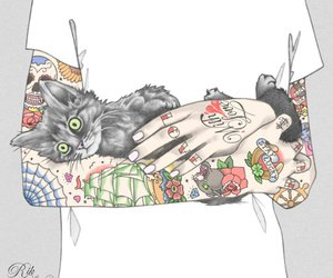 tattoo, cat, and art image