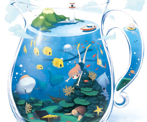 anime, fish, and water image