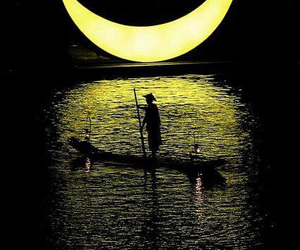 boat, moon, and night image