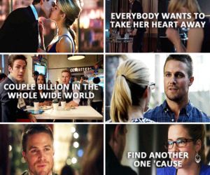 arrow, Felicity, and oliver queen image