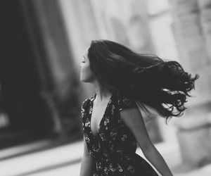 b&w, hair, and happiness image