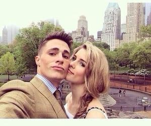 colton haynes, emily bett rickards, and arrow image