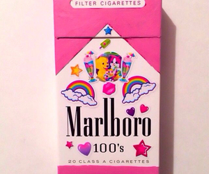 pink, marlboro, and cigarette image