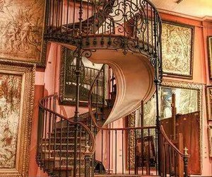 pink and staircase image
