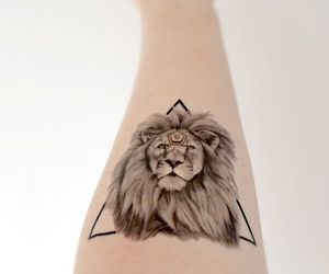 tattoo, lion, and triangle image