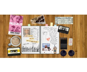 cassette tape, coffee, and diary image