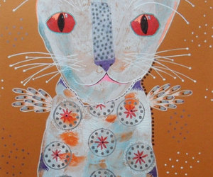 cat paintings, folk art cat, and whimsical cat image