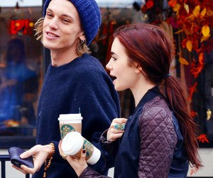 lily collins, couple, and Jamie Campbell Bower image