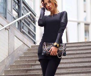 black dress, fashion, and glamour image