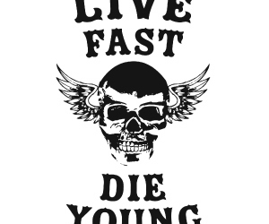 skull, live fast die young, and text image