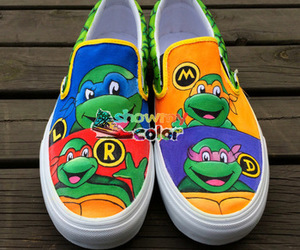 vans shoes, hand painted shoes, and tmnt shoes image